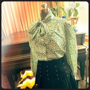 Vintage teal & black cheetah print bow tie blouse